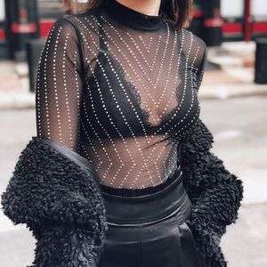 Tops - 🆕Kelis Black Sheer Mesh & Rhinestone Bodysuit